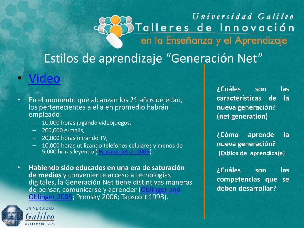 """Estilos de aprendizaje """"Generación Net"""""""