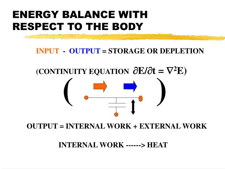 ENERGY BALANCE WITH RESPECT TO THE BODY