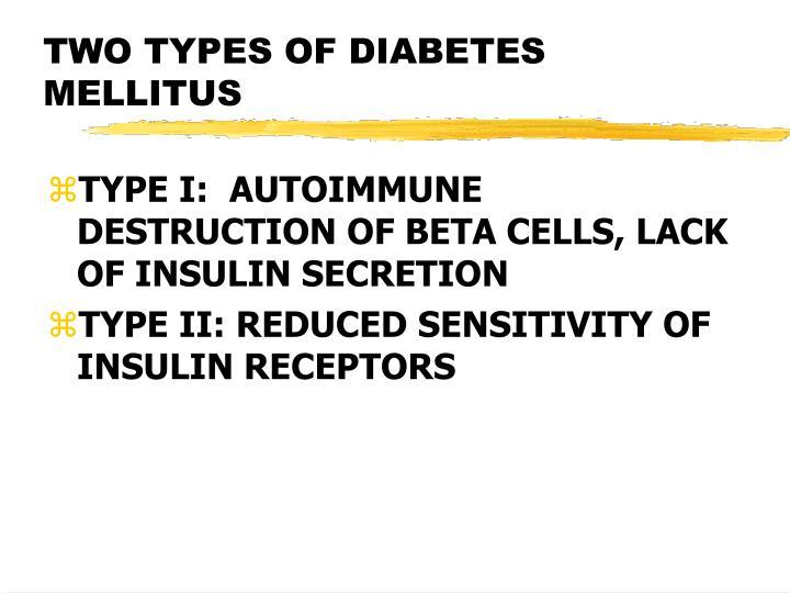 TWO TYPES OF DIABETES MELLITUS