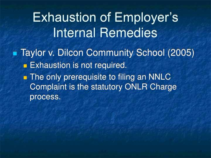 Exhaustion of Employer's Internal Remedies