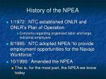 history of the npea