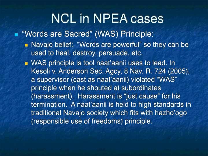NCL in NPEA cases