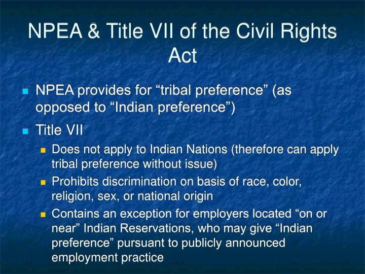 NPEA & Title VII of the Civil Rights Act