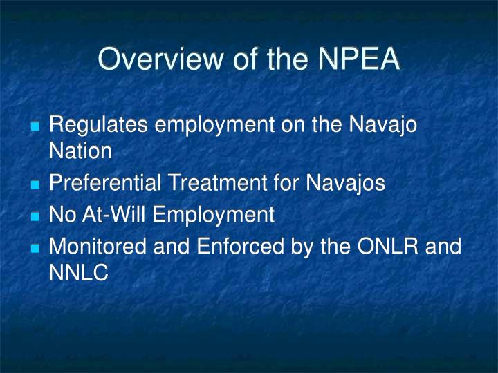 Overview of the NPEA