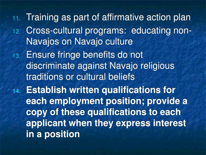 Training as part of affirmative action plan