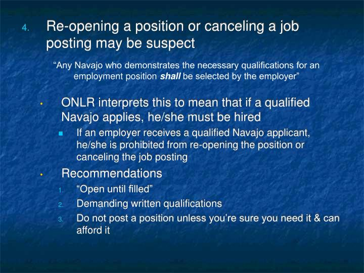 """""""Any Navajo who demonstrates the necessary qualifications for an employment position"""
