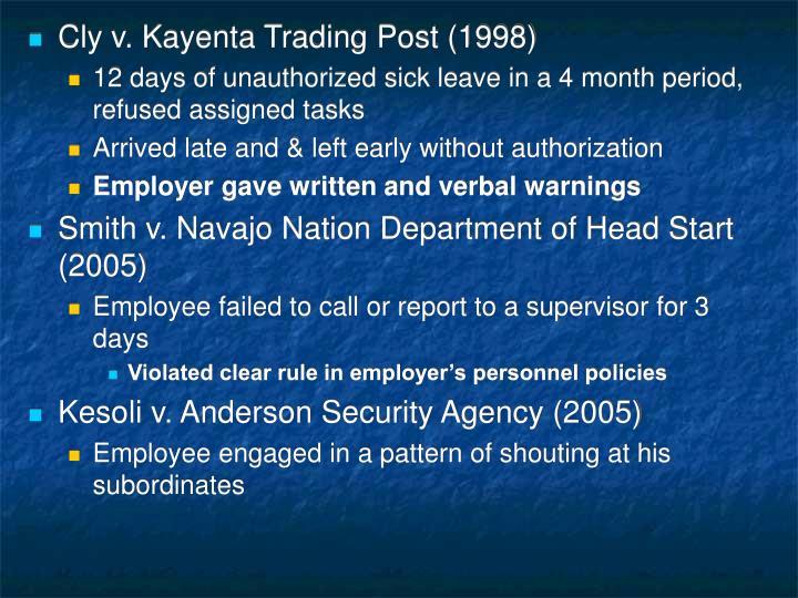 Cly v. Kayenta Trading Post (1998)