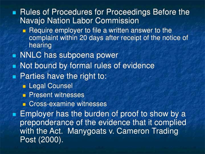 Rules of Procedures for Proceedings Before the Navajo Nation Labor Commission