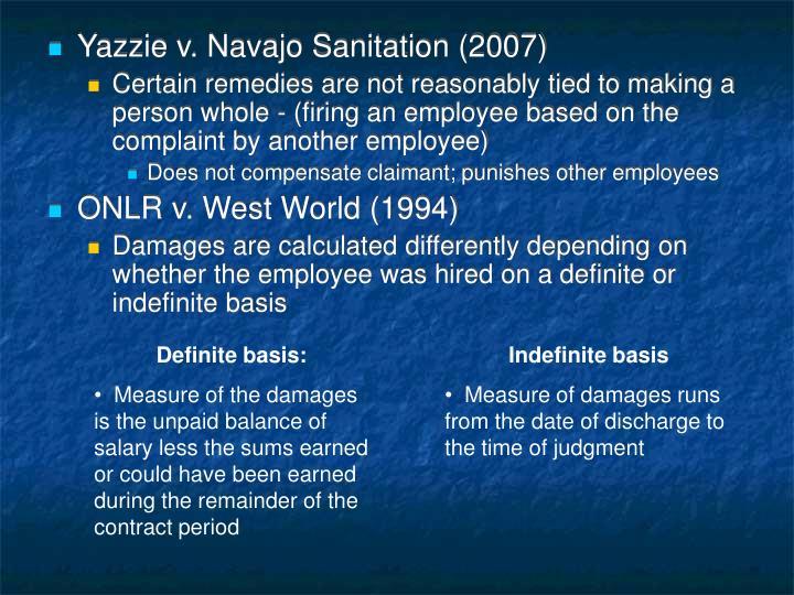 Yazzie v. Navajo Sanitation (2007)