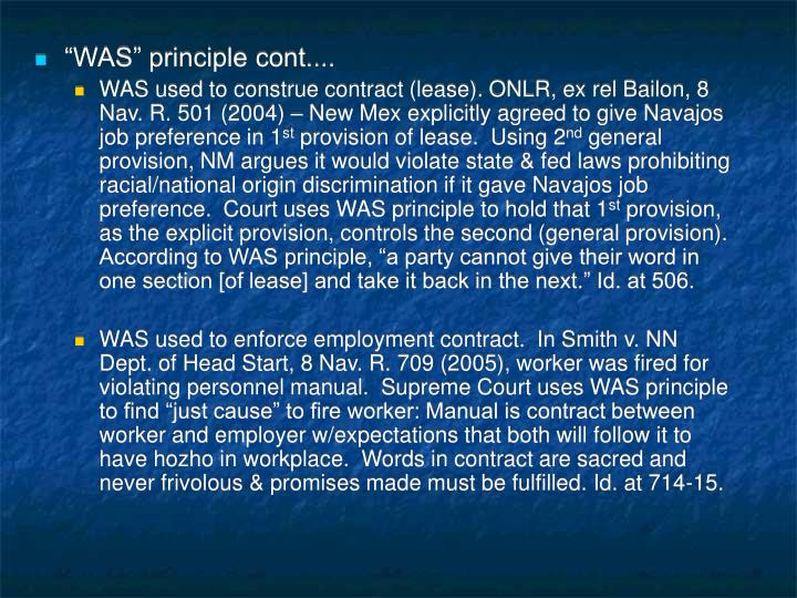 """""""WAS"""" principle cont...."""