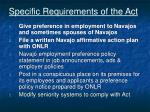 specific requirements of the act
