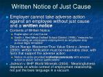written notice of just cause