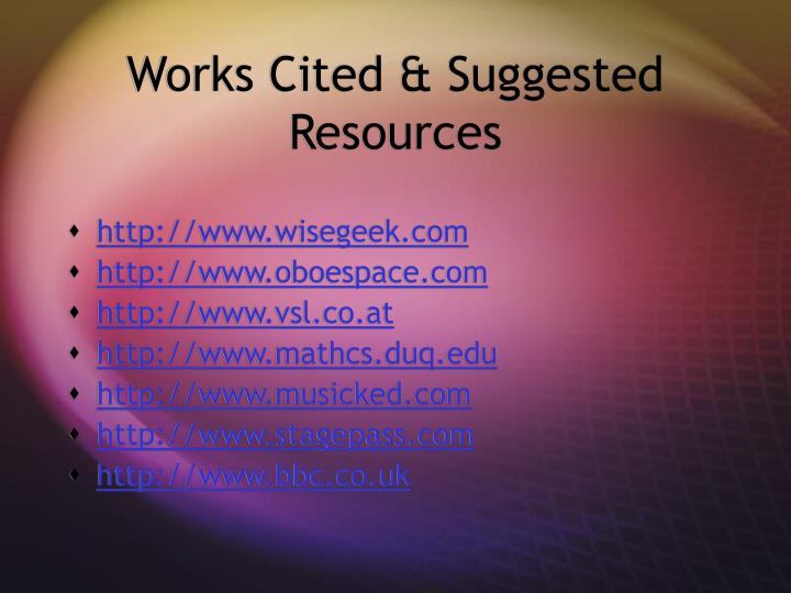 Works Cited & Suggested Resources