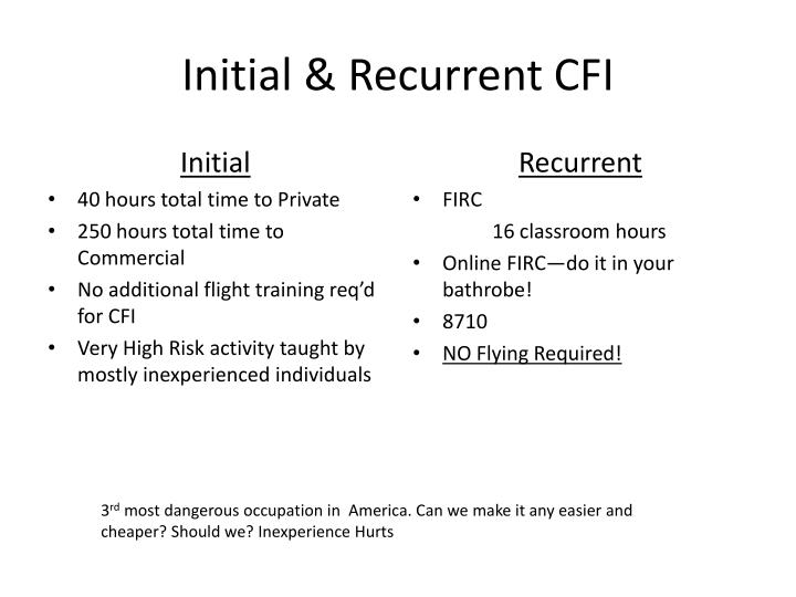 Initial & Recurrent CFI