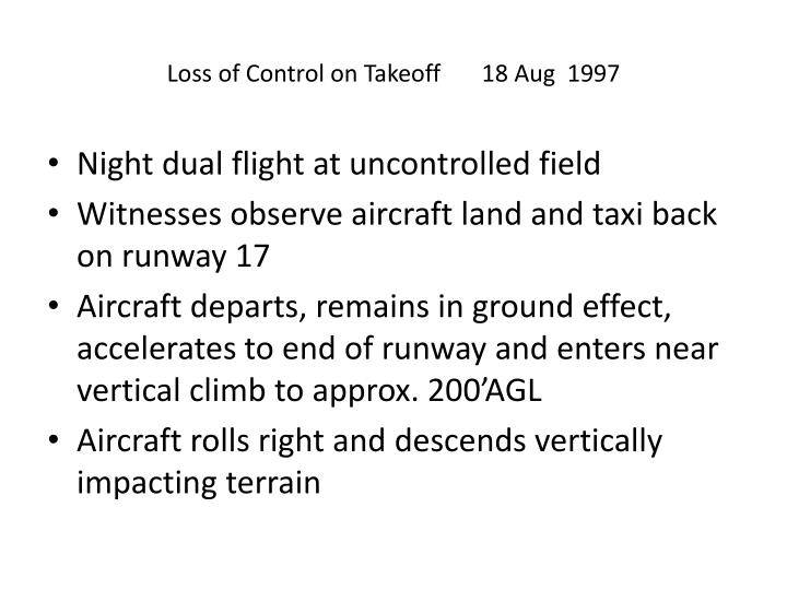 Loss of Control on Takeoff 18 Aug  1997