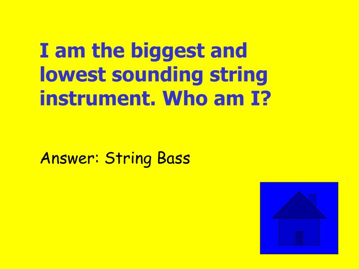 I am the biggest and lowest sounding string instrument. Who am I?