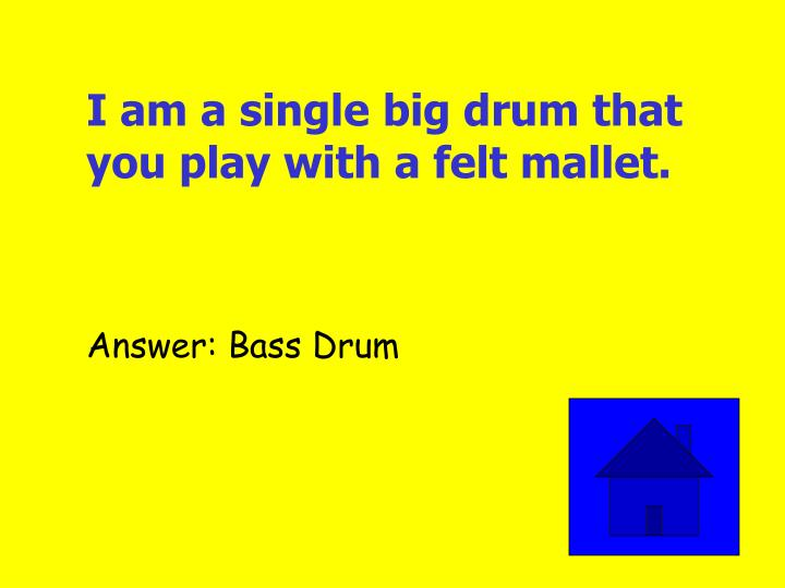 I am a single big drum that you play with a felt mallet.