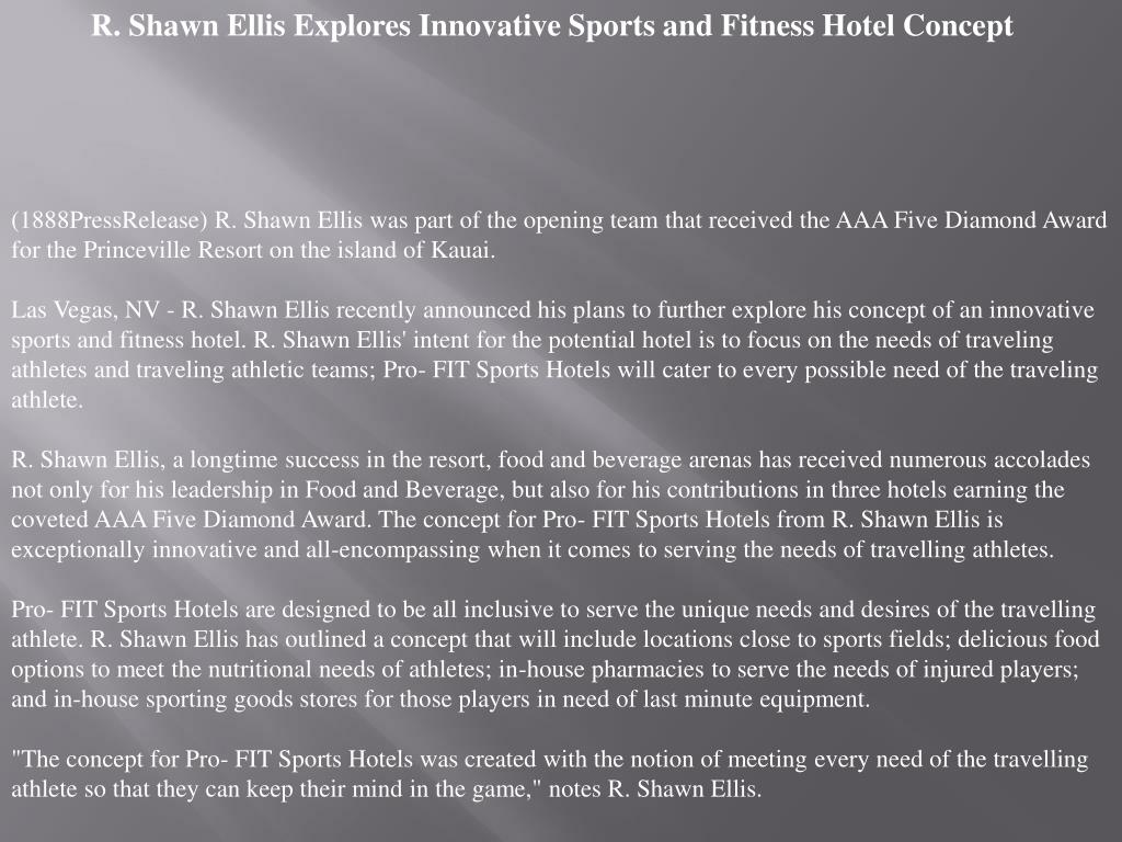 R. Shawn Ellis Explores Innovative Sports and Fitness Hotel Concept