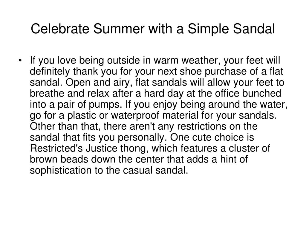 Celebrate Summer with a Simple Sandal