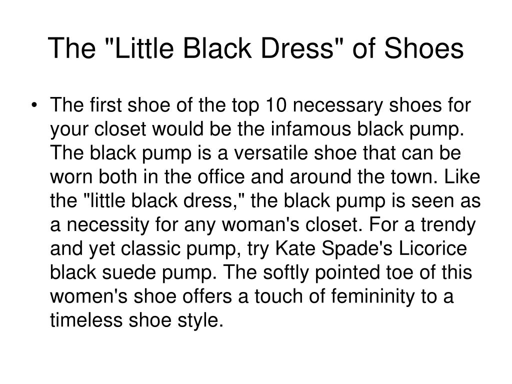 "The ""Little Black Dress"" of Shoes"