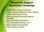 resources support information campaign