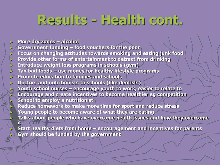 Results - Health cont.