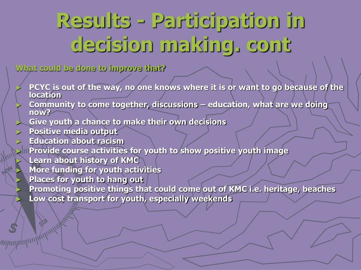 Results - Participation in decision making. cont