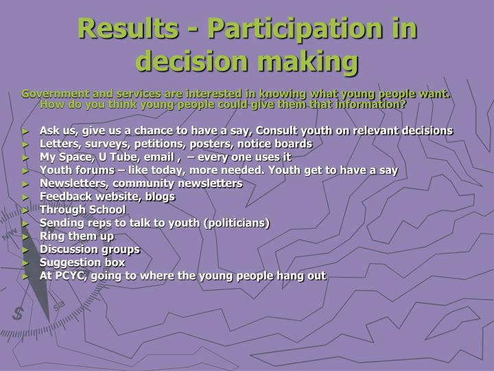 Results - Participation in decision making