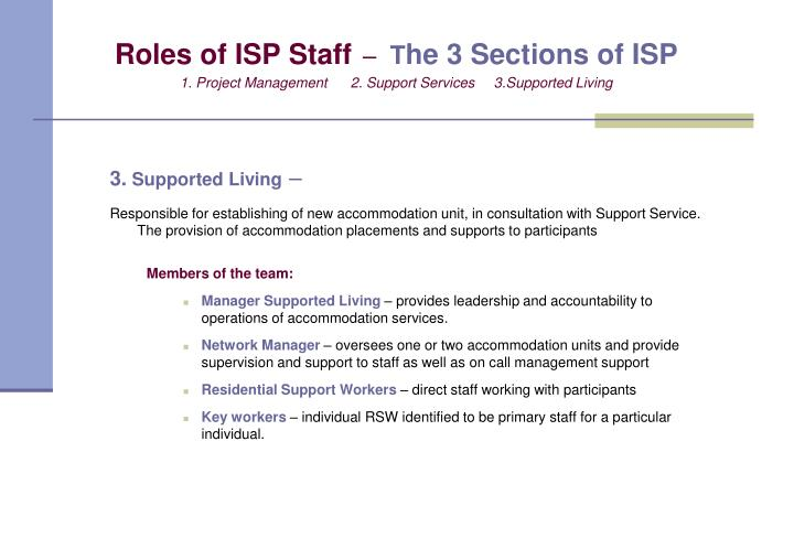 Roles of ISP Staff