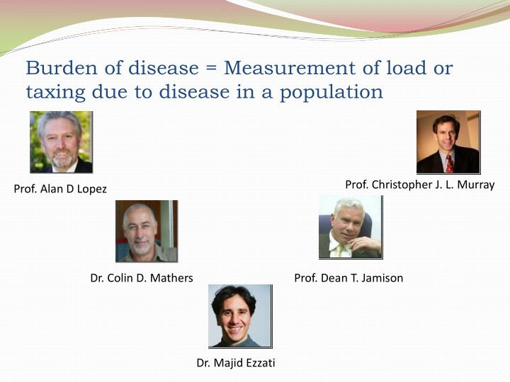 Burden of disease = Measurement of load or taxing due to disease in a population