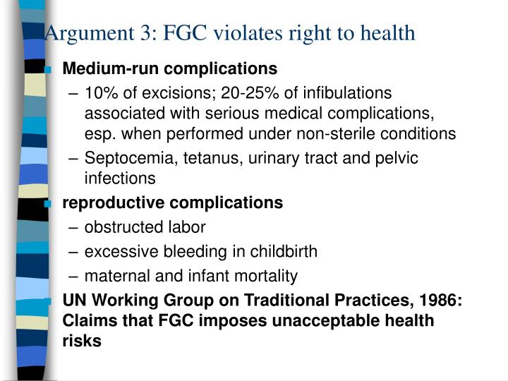 Argument 3: FGC violates right to health