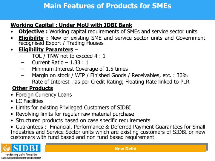 Main Features of Products for SMEs