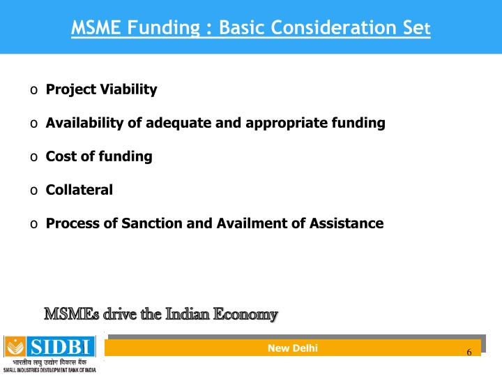 MSME Funding : Basic Consideration Se