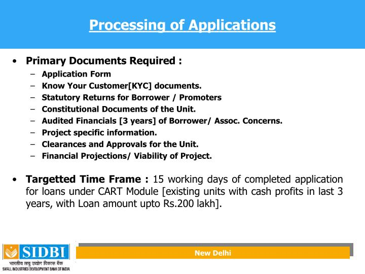 Processing of Applications