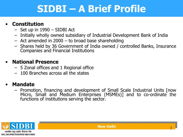 SIDBI – A Brief Profile