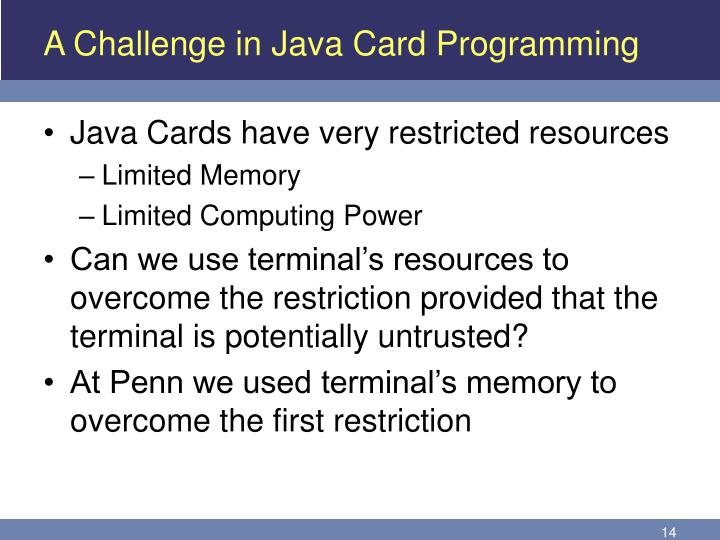 A Challenge in Java Card Programming