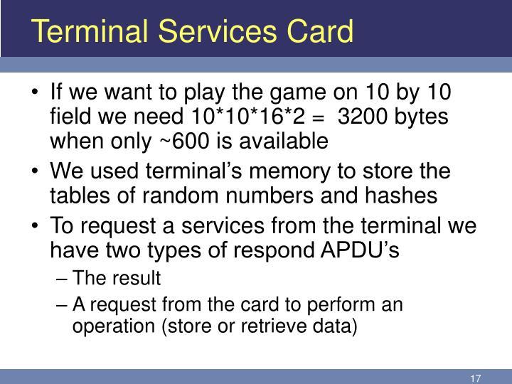 Terminal Services Card