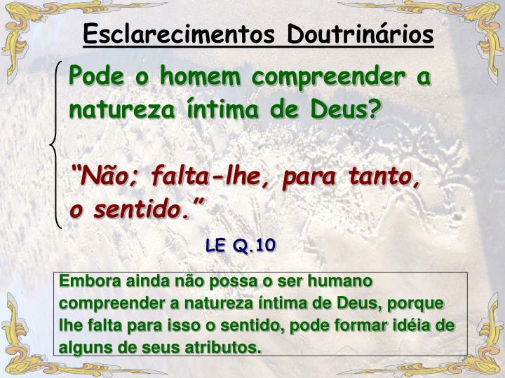 Pode o homem compreender a natureza íntima de Deus?