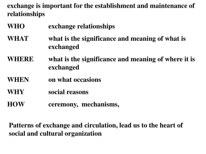 exchange is important for the establishment and maintenance of relationships