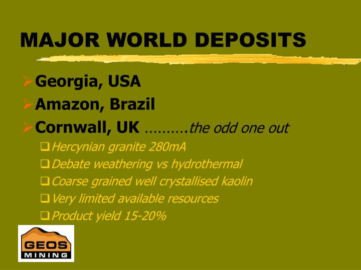 MAJOR WORLD DEPOSITS