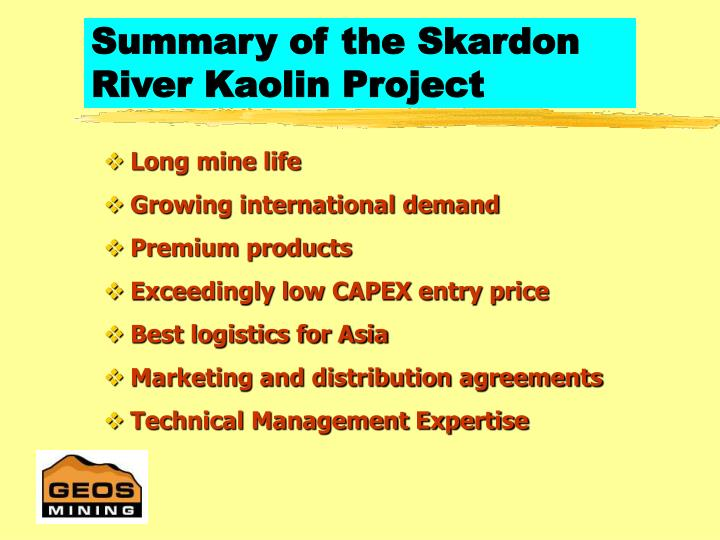Summary of the Skardon River Kaolin Project