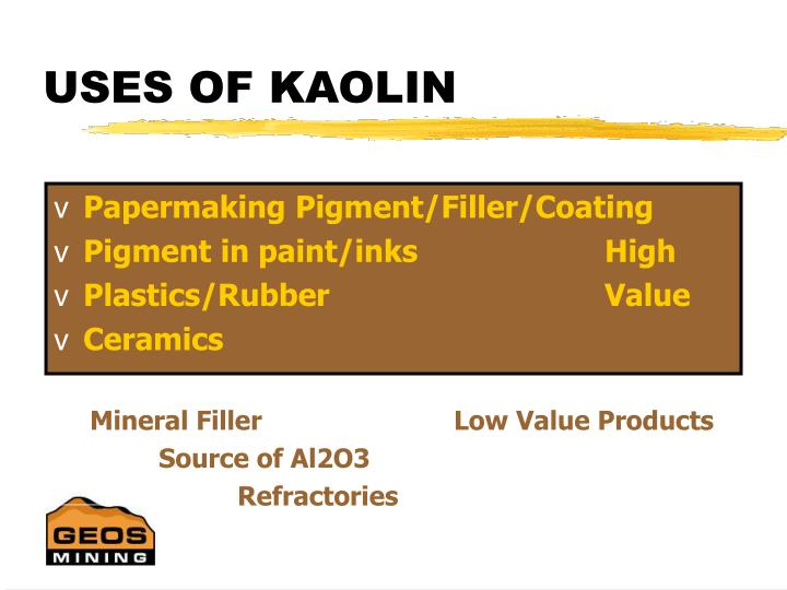 Uses of kaolin