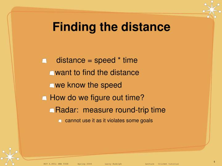 Finding the distance