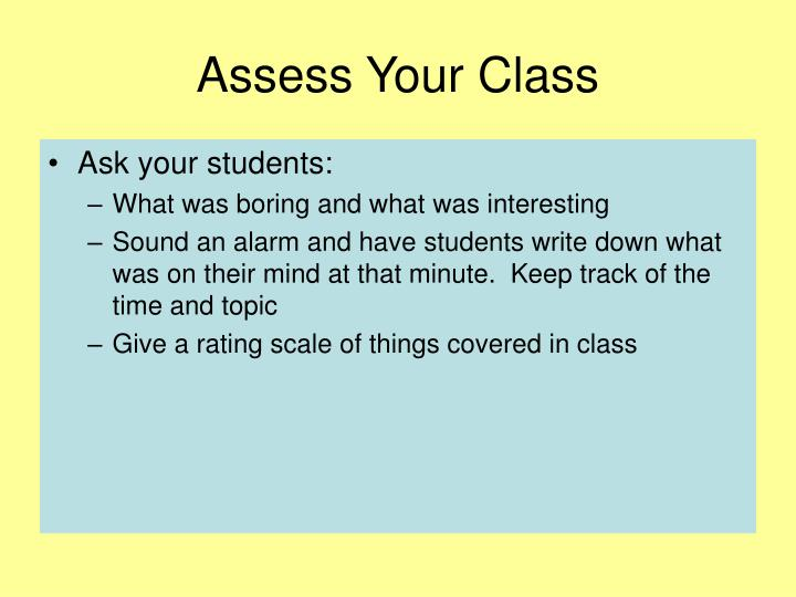 Assess Your Class