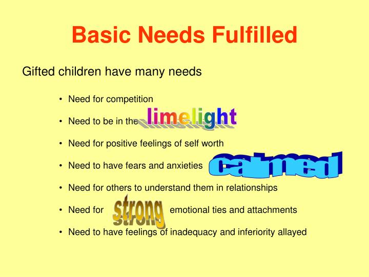 Basic Needs Fulfilled