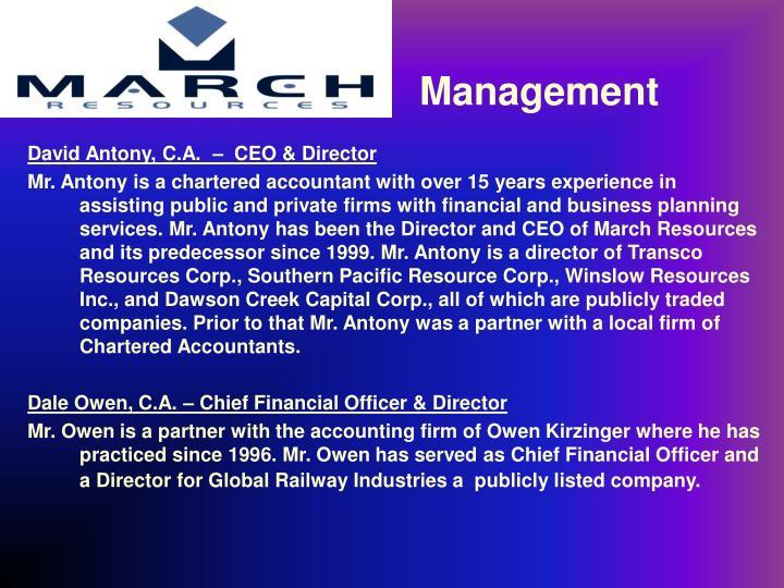 David Antony, C.A.  –  CEO & Director