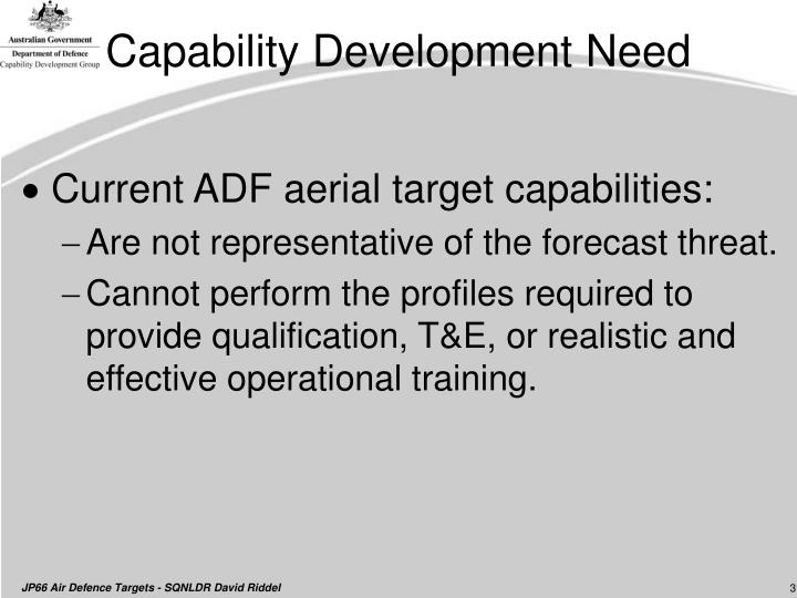 Capability development need