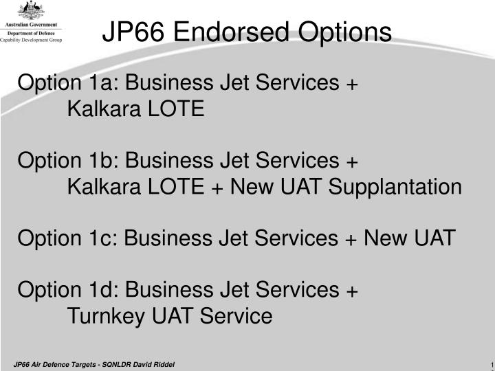 JP66 Endorsed Options