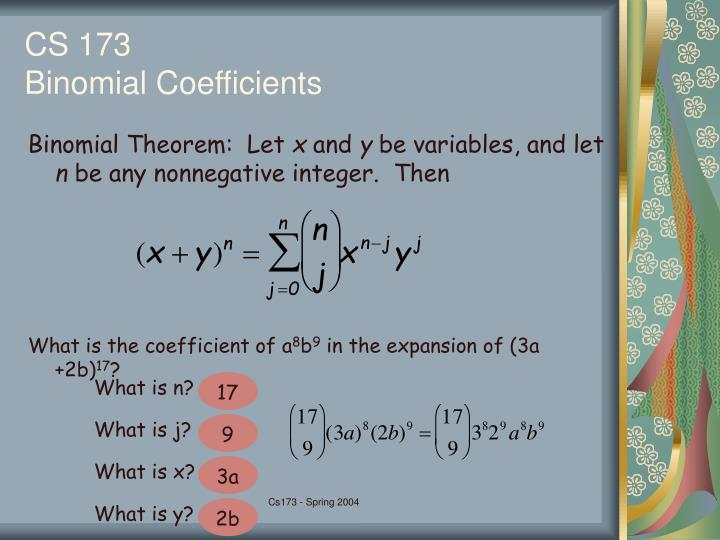Binomial Theorem:  Let