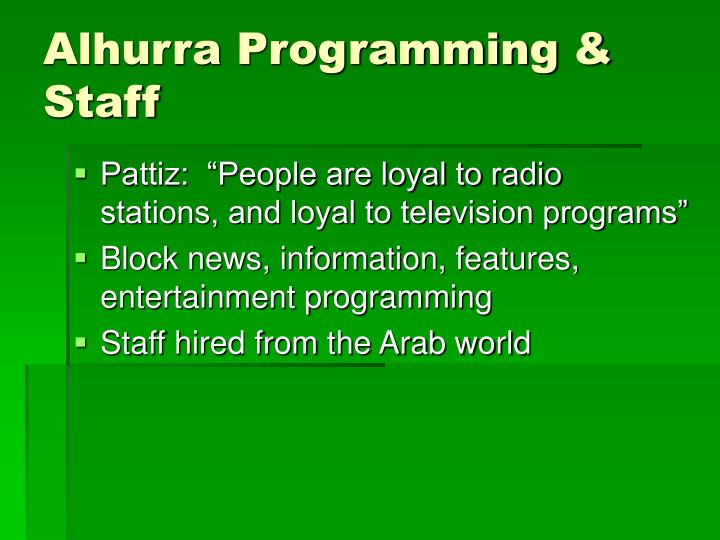 Alhurra Programming & Staff